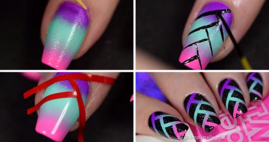unhas decoradas fáceis de fazer coloridas com fitas