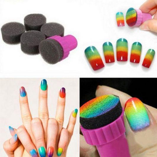 unhas decoradas fáceis de fazer com esponja arco iris