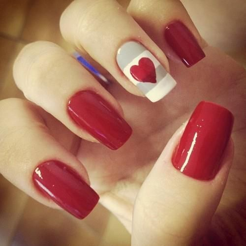 unhas decoradas fáceis de fazer coração