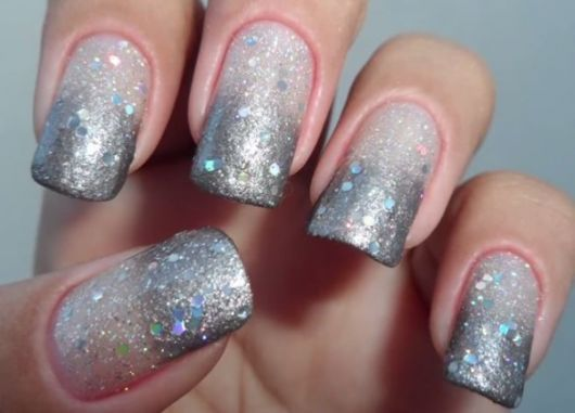 unhas decoradas fáceis de fazer glitter