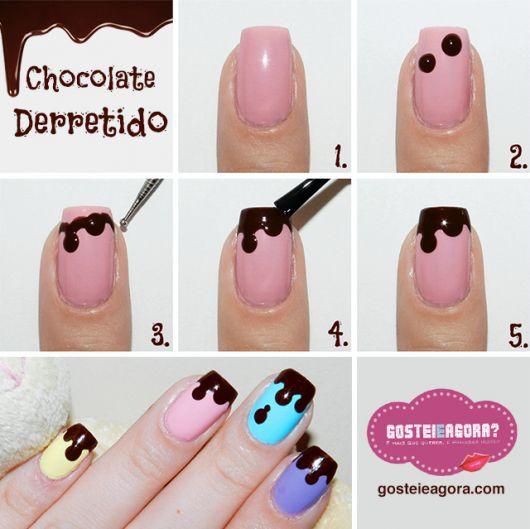 unhas decoradas fáceis de fazer passo a passo chocolate