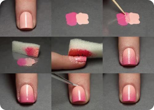 unhas decoradas fáceis de fazer passo a passo com esponja rosa