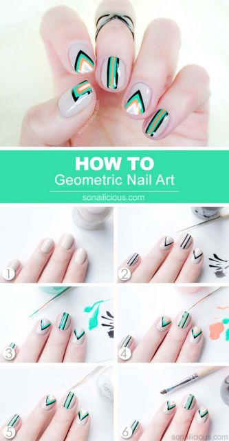 unhas decoradas fáceis de fazer passo a passo geométrico