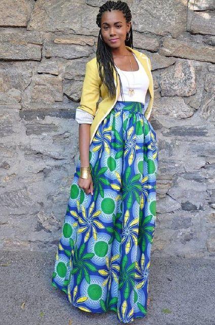 moda africana com saia longa e blazer