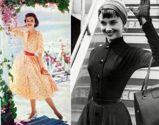 vestido com cinto - anos 50 e 60