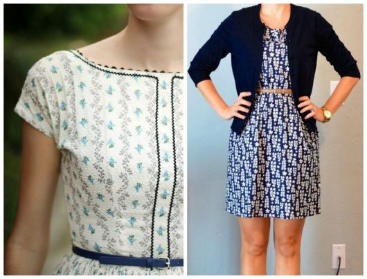 vestido com cinto azul