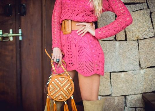 vestido com cinto tricô