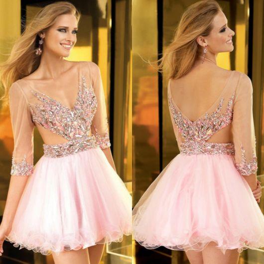 vestido de formatura curto 1 rosa