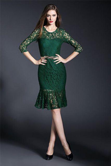 vestido de formatura curto 12 verde rendado