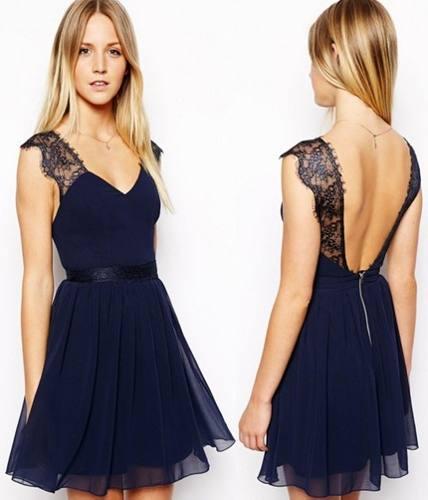 vestido de formatura curto 15 azul escuro