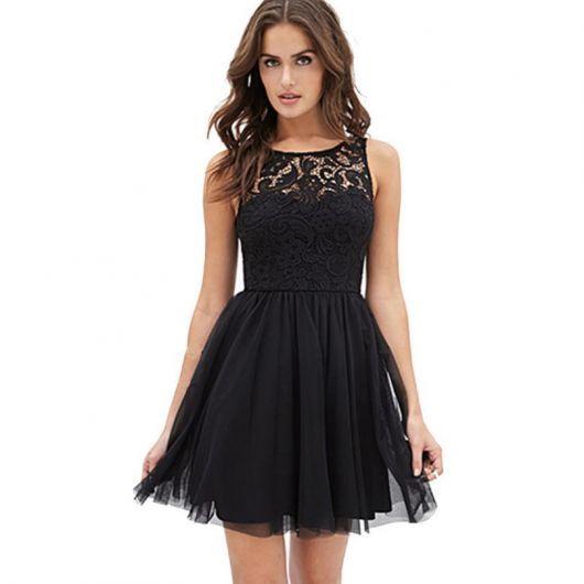 vestido de formatura curto 16 preto