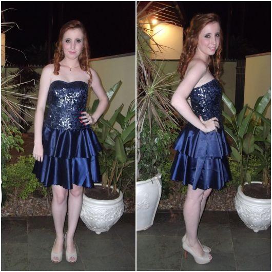 vestido de formatura curto 20 azul com brilho