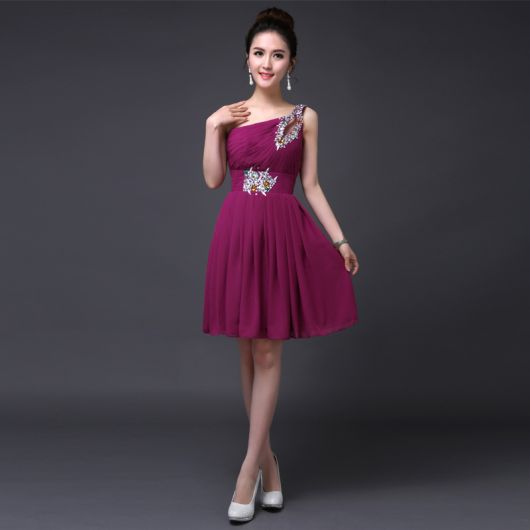vestido de formatura curto 26 vestido de um ombro só