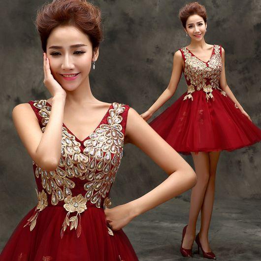 vestido de formatura curto 32 vermelhão