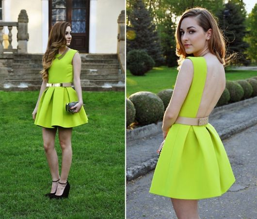 vestido de formatura curto 39 verde limão