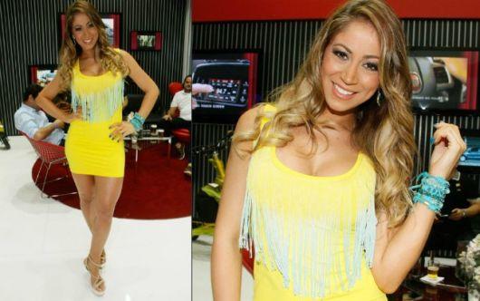 vestido de panicat amarelo com franjas