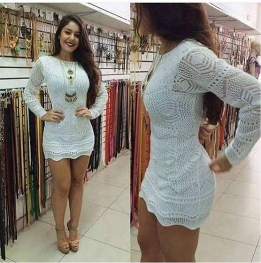vestido de panicat com renda branca