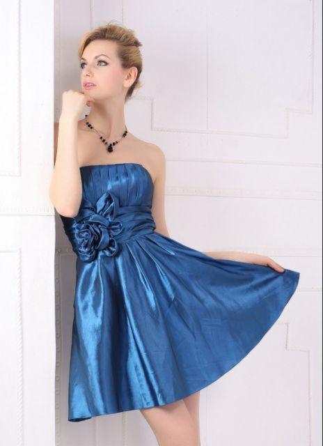 vestido de seda tomara que caia azul