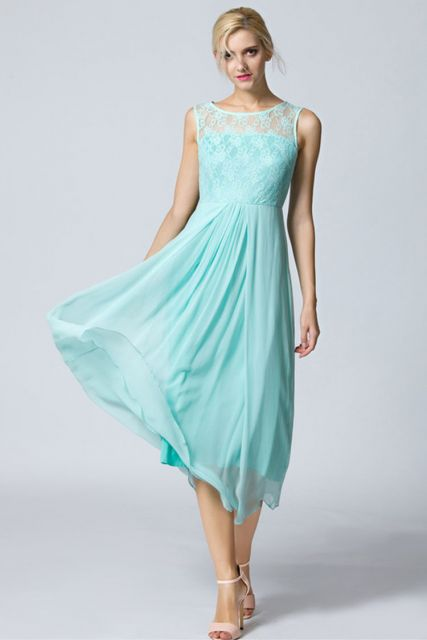 vestidos de seda azul com renda