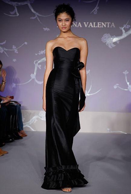 vestido de seda longo preto