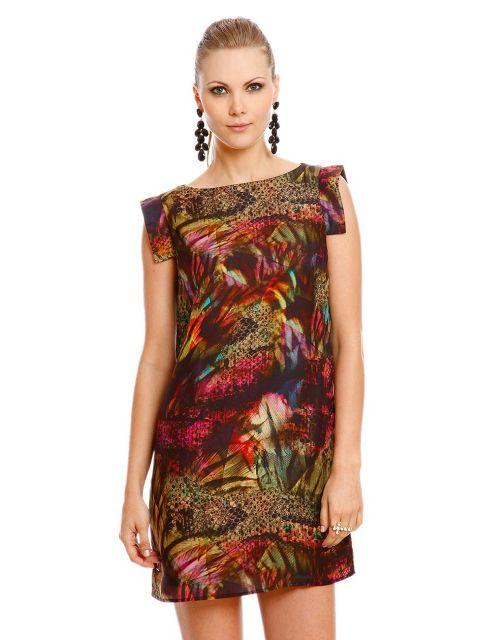 vestido de seda estampado com detalhes