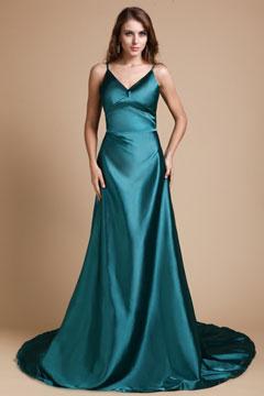 vestido de seda decote V