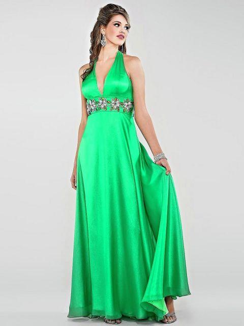 vestido de seda verde para festas e formaturas