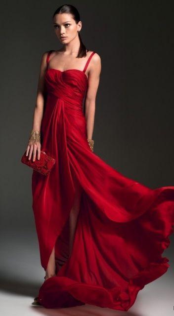 vestido de festa de seda vermelho longo