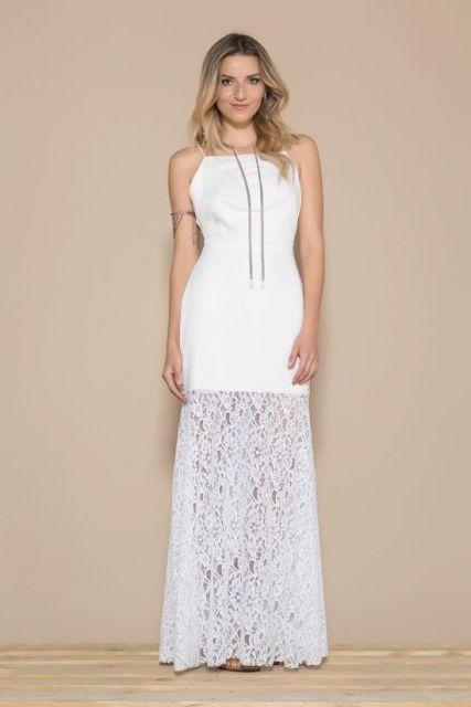 Vestido longo branco simples