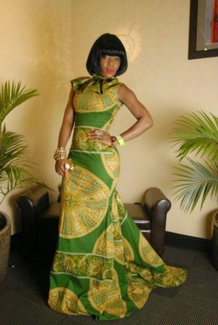 vestido com calda na moda africana