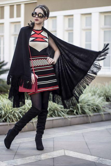 vestido étnico com meia