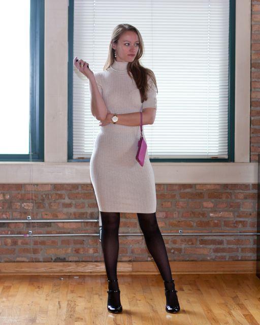 vestido de tricô com meia