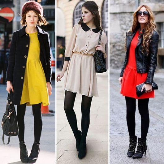 3 looks de vestido com meia