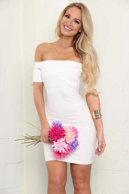 vestido ombro a ombro casual branco