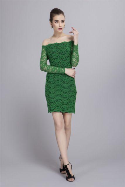 vestido ombro a ombro rendado verde