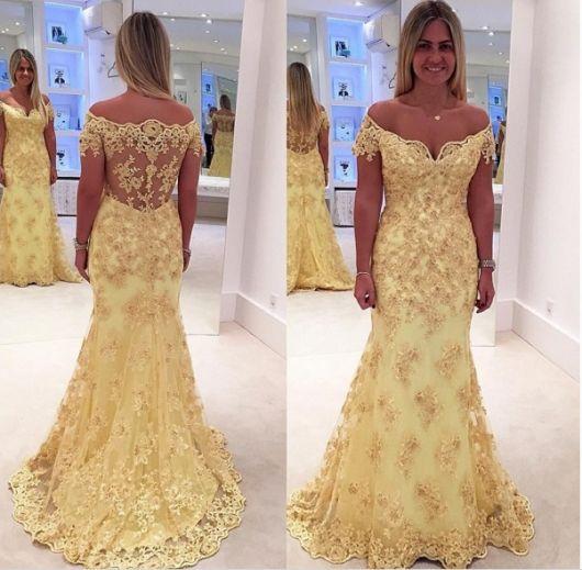 vestido ombro a ombro para festa amarelo