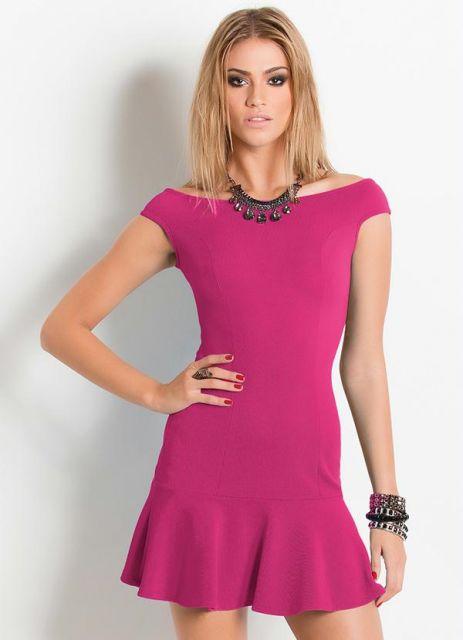 vestido ombro a ombro rosa