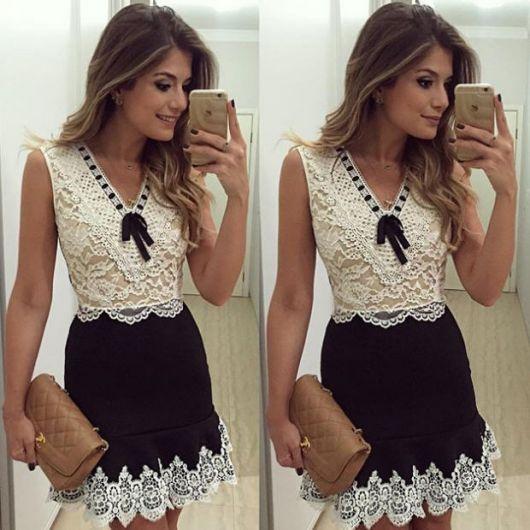 vestido preto e branco com renda de festa