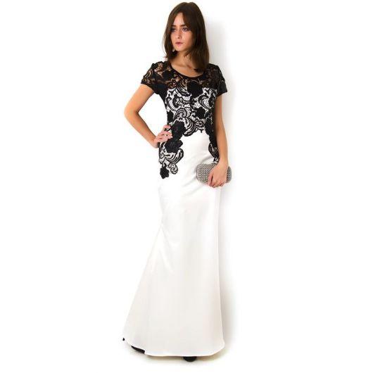 vestido preto e branco com renda longo