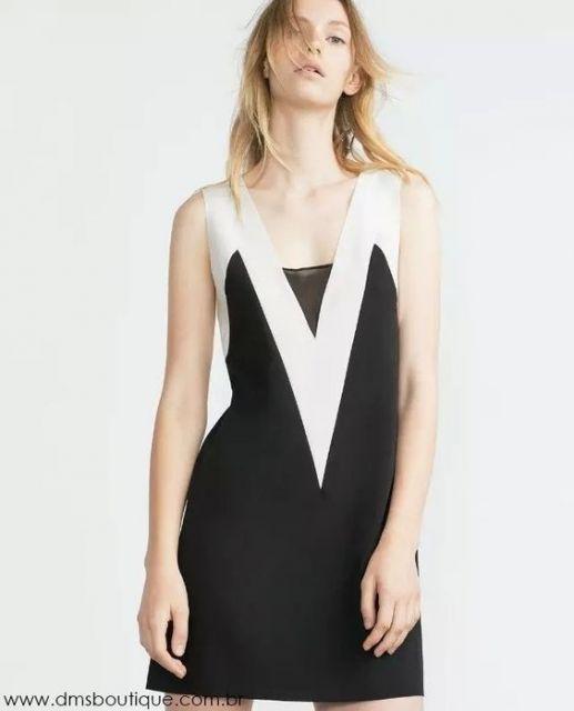 vestido preto e branco efeito emagrecedor