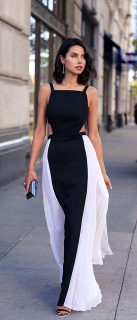 vestido preto e branco longo leve