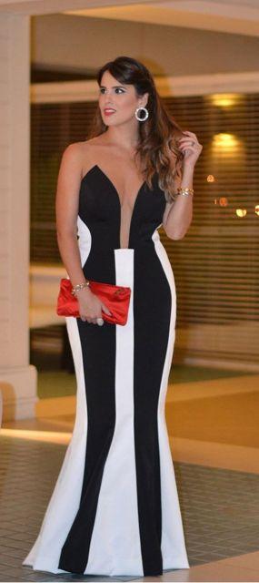 vestido preto e branco longo