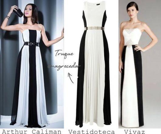 vestido preto e branco que emagrece