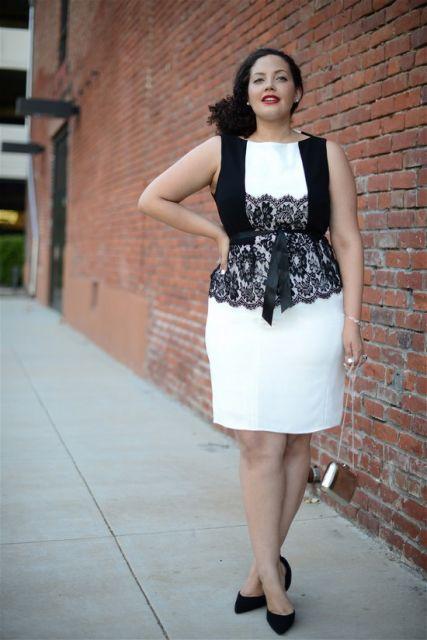 vestido preto e branco rendado gordinhas