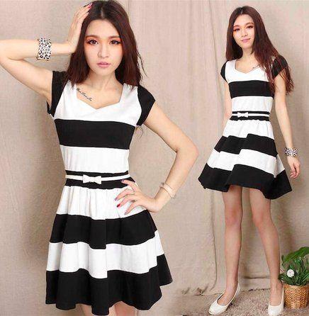vestido preto e branco rodado listrado