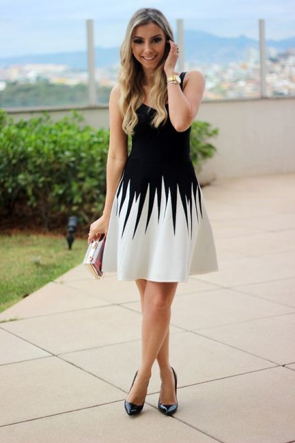 vestido preto e branco rodado que emagrece