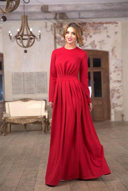 vestido longo vermelho com manga longa