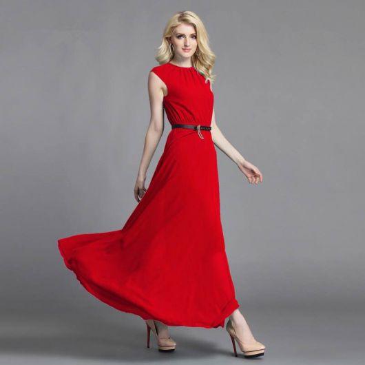 vestido vermelho longo semiformal