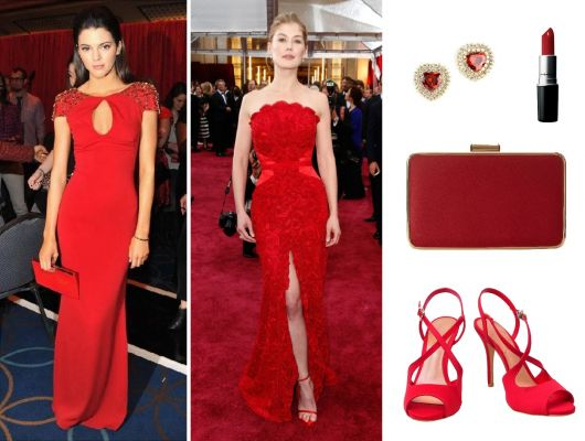 acessórios para o vestido vermelho longo