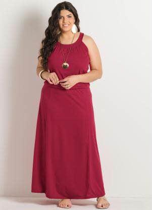 Vestido vermelho longo casual